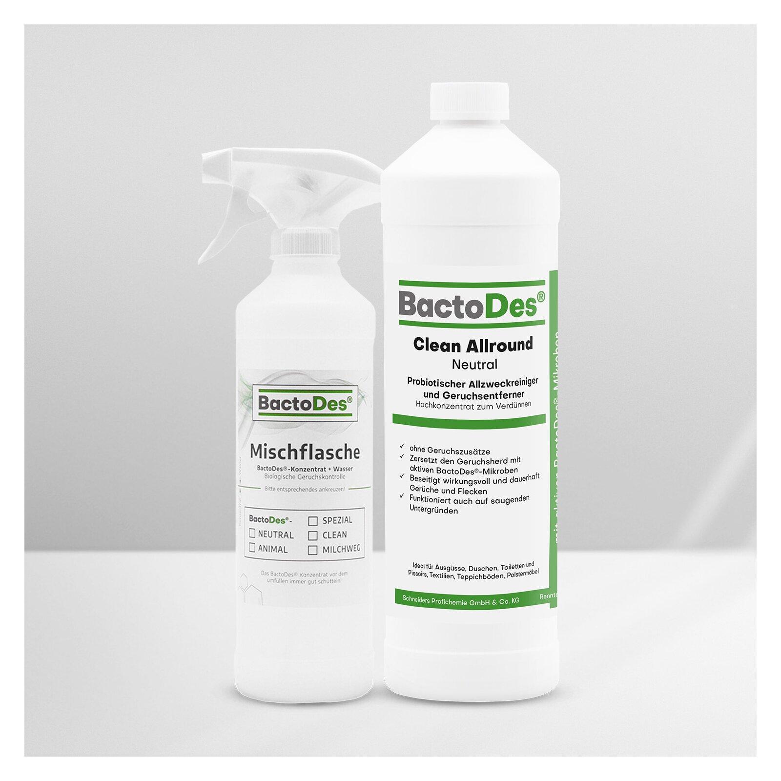 BactoDes(R)Clean Neutral  Geruchlos  ohne Geruchszusätze 1Liter Flasche incl 1 Misch und Sprühflasche