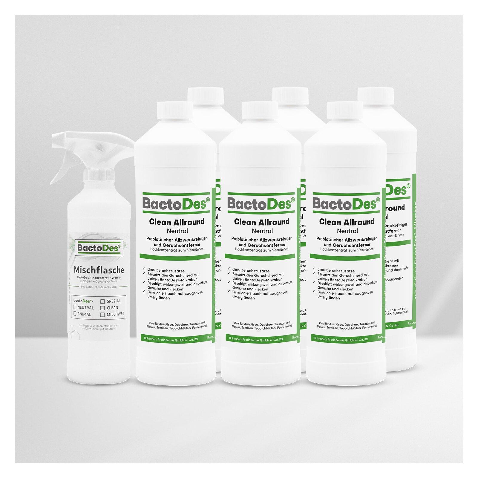 BactoDes(R)Clean Neutral  Geruchlos  ohne Geruchszusätze 6x1L Karton incl1 Misch und Sprühflasche