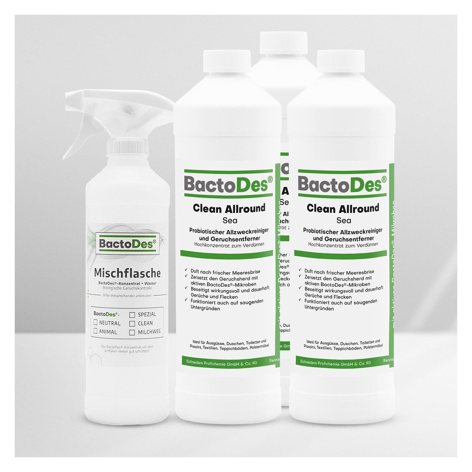 BactoDes(R)Clean Sea  Meeresbrise  Frisch  Aquatisch 3x1Liter Set incl1 MischUnd Sprühflasche