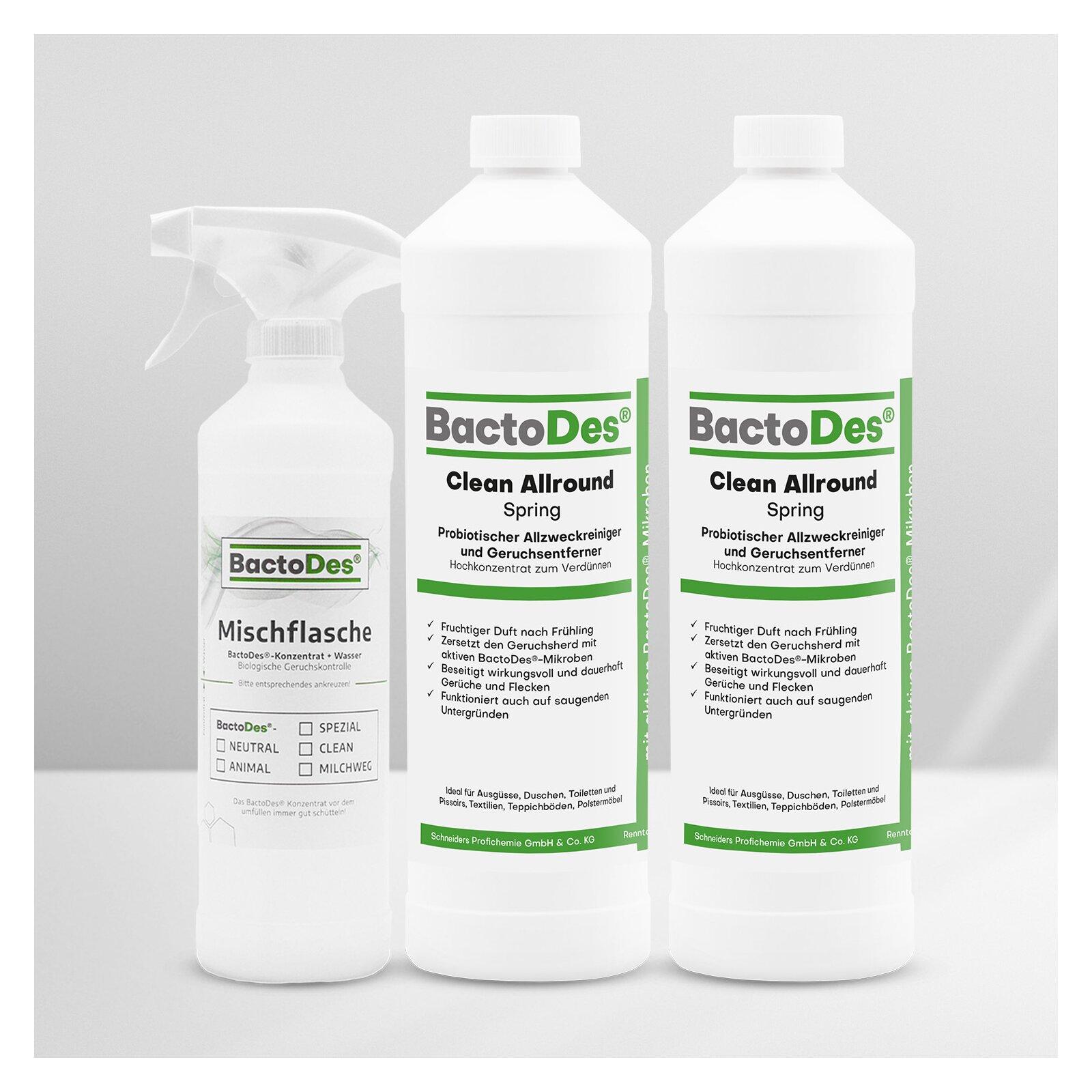 BactoDes(R)Clean Spring  Frühlingsbrise  Frisch  Blumig  Grün 2x1 Liter Set incl1 Misch und Sprühflasche