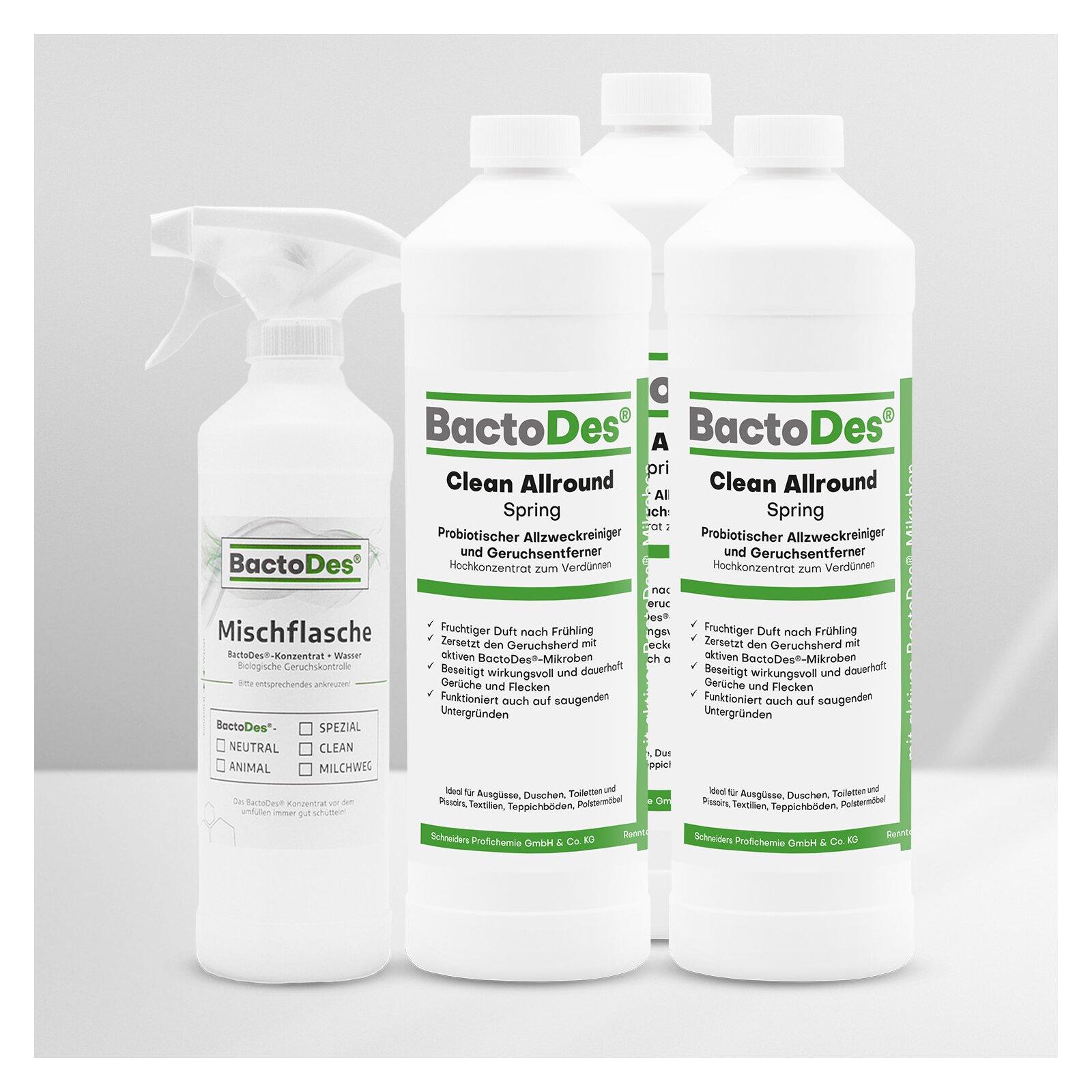 BactoDes(R)Clean Spring  Frühlingsbrise  Frisch  Blumig  Grün 3x1LiterSet incl1 MischUnd Sprühflasche