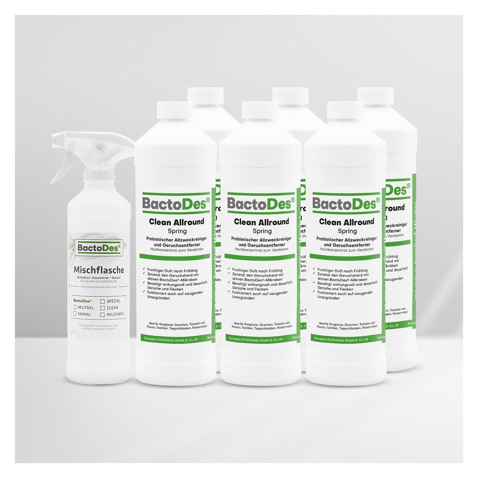 BactoDes(R)Clean Spring  Frühlingsbrise  Frisch  Blumig  Grün 6x1L Karton incl1 Misch und Sprühflasche