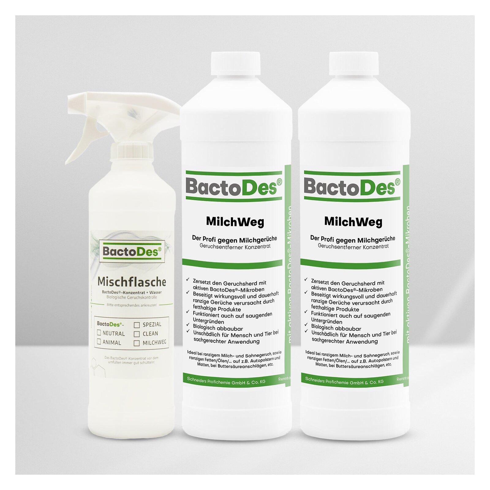 BactoDes(R)MilchWeg Milchgeruch und Buttersäure Entferner 2L incl 1 Misch Und Sprühflasche