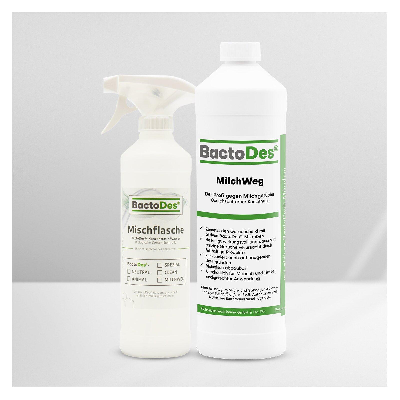 BactoDes(R)MilchWeg Milchgeruch und Buttersäure Neutralisierer 1L incl 1 Misch Und Sprühflasche