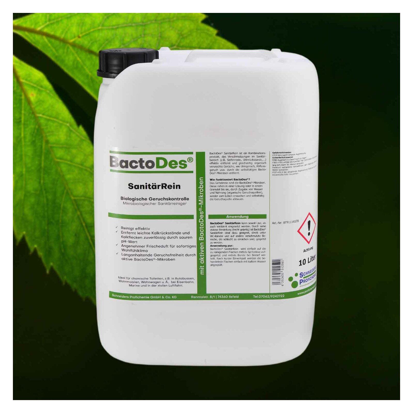 BactoDes(R) SanitärRein  Mikrobiologischer Sanitärreiniger und Geruchsentferner 10 Liter Kanister 1 Kanister