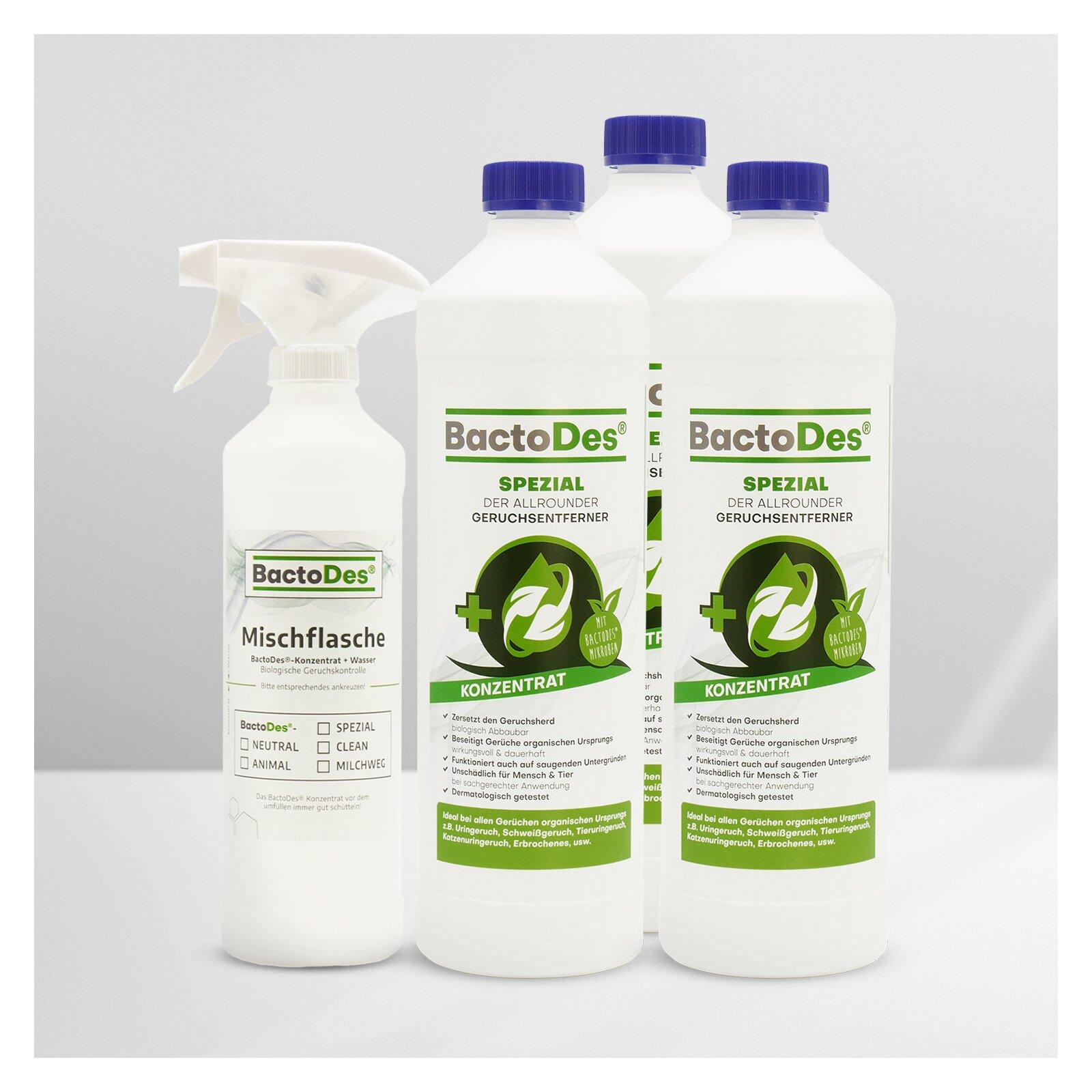 BactoDesSpezial Geruchskiller 3x1LiterSet incl1 MischUnd Sprühflasche