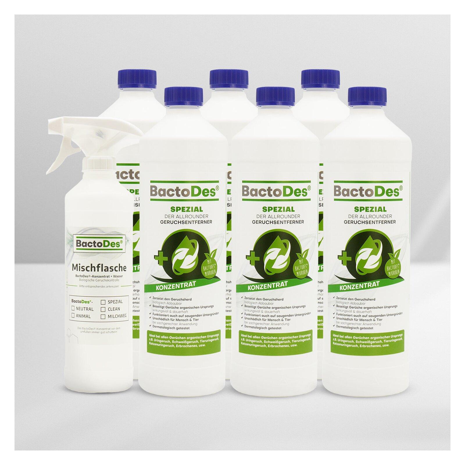 BactoDesSpezial Geruchskiller 6x1L Karton incl1 Misch und Sprühflasche